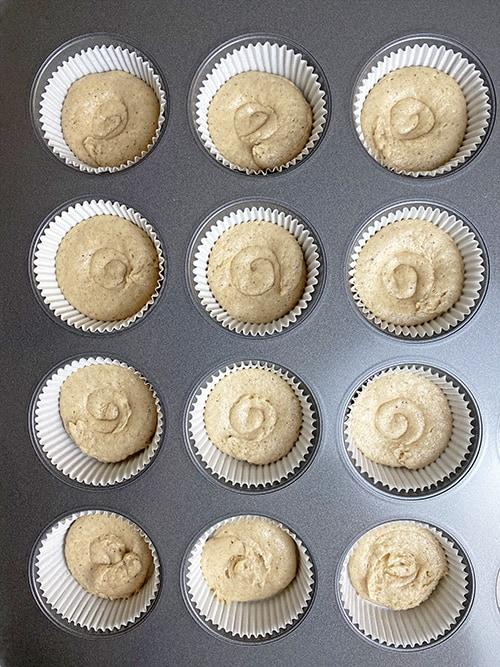 first layer of cinnamon sugar cupcake.