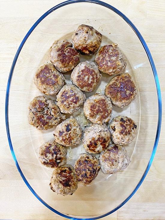 gluten-free meatballs in casserole
