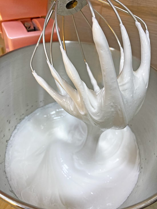Stiff peaks of swiss meringue buttercream step 1.