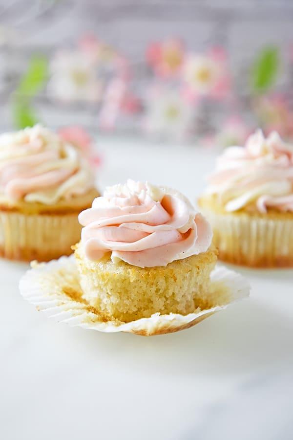 gluten free vanilla cupcake with pink buttercream