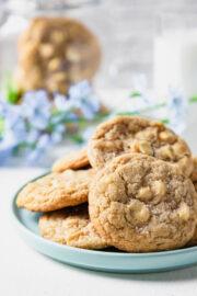 white chocolate chip cookies on an aqua bowl.