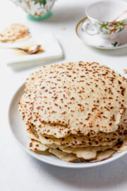 gluten-free flatbread stacked on top of each other