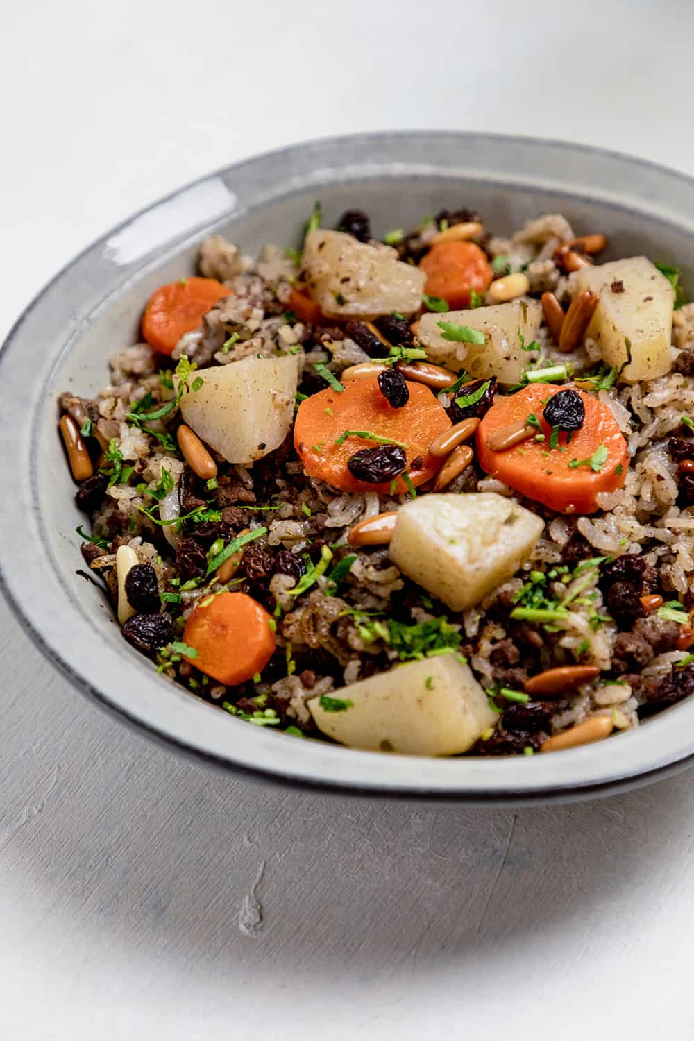 spiced rice with raisins and pine.