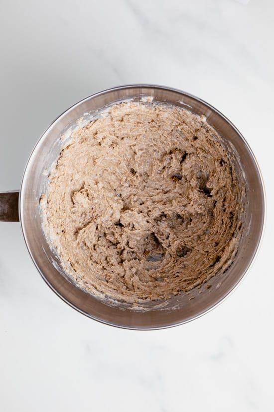 shortening and brown sugar after mixing at high speed.