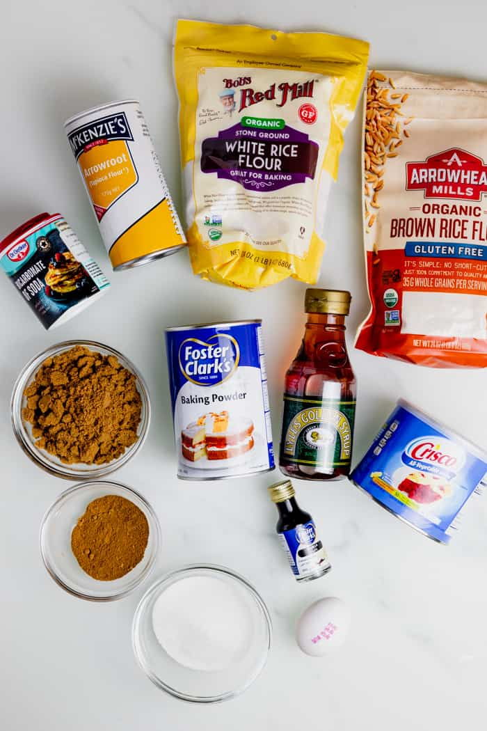 gluten free ginger snaps ingredients set on a table.