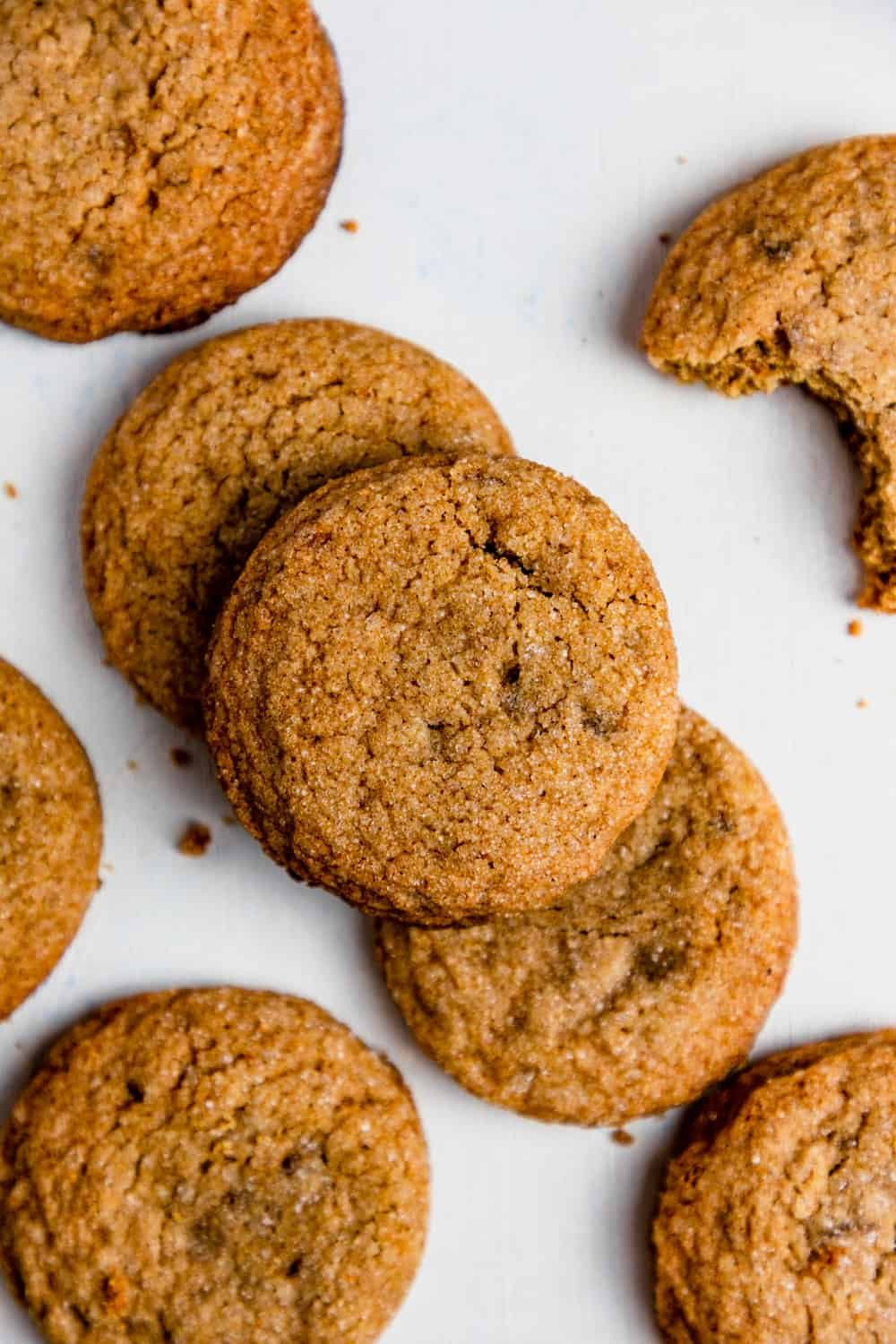 gluten free ginger snap set on a white table