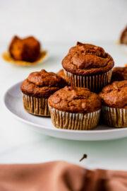 gluten free pumpkin muffins on a white plate