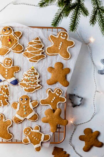 gluten free gingerbread cookies decorated with royal icing